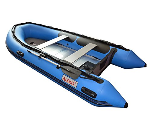 ALEKO® 10.5 Ft Blue Inflatable Boat with Aluminum Floor Heavy Duty Design 4 Person Raft Sport ...